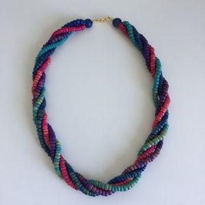 Colourful Wood Beaded Necklace